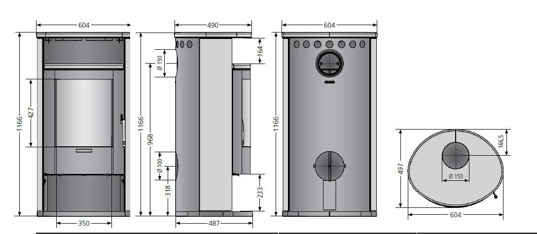 Kaminofen Justus Island 7 II raumluftunabhängig Speckstein 6,5 kW ...