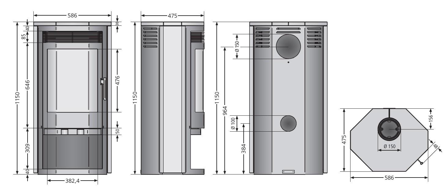 Kaminofen Justus Usedom 7 raumluftunabhängig Sandstein 7 kW Bild 2