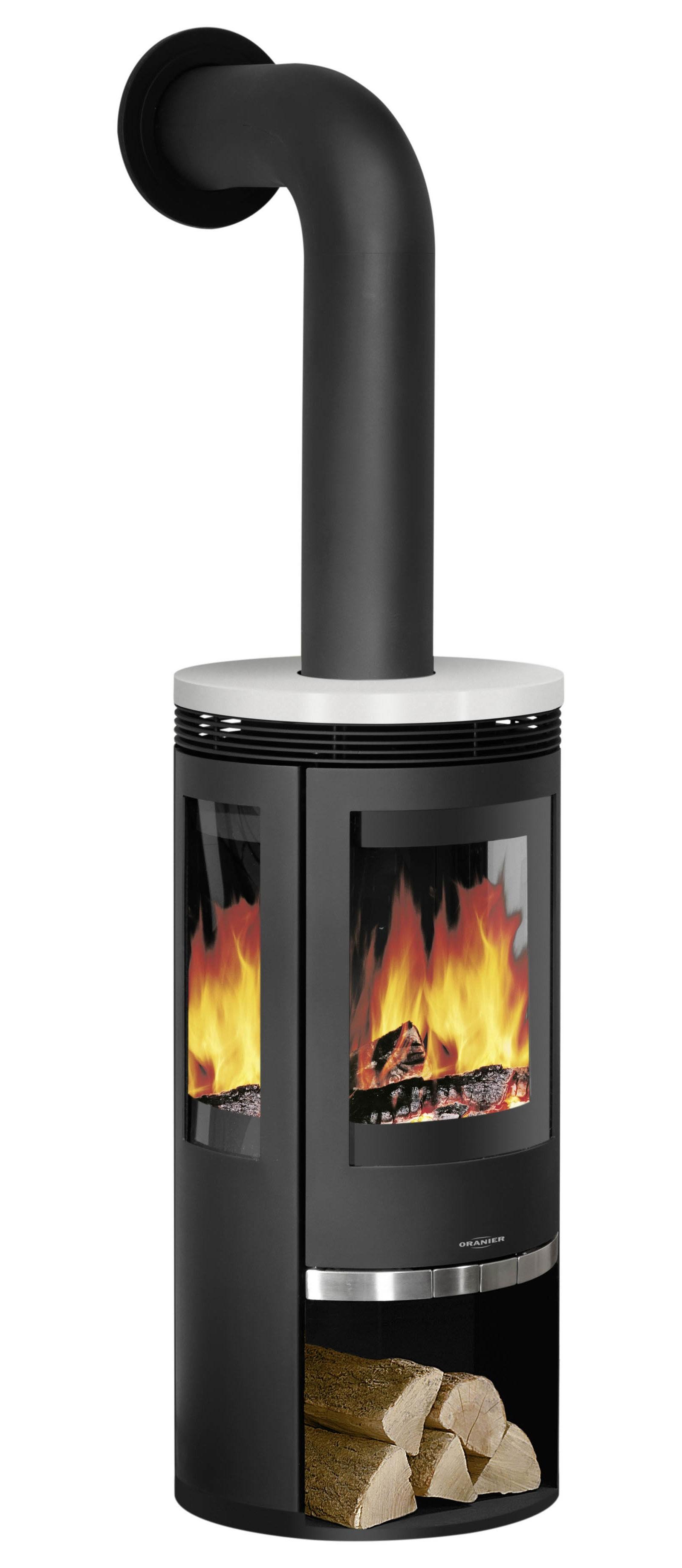 kaminofen oranier rota tre 3 scheiben stahl keramik wei 5kw bei. Black Bedroom Furniture Sets. Home Design Ideas