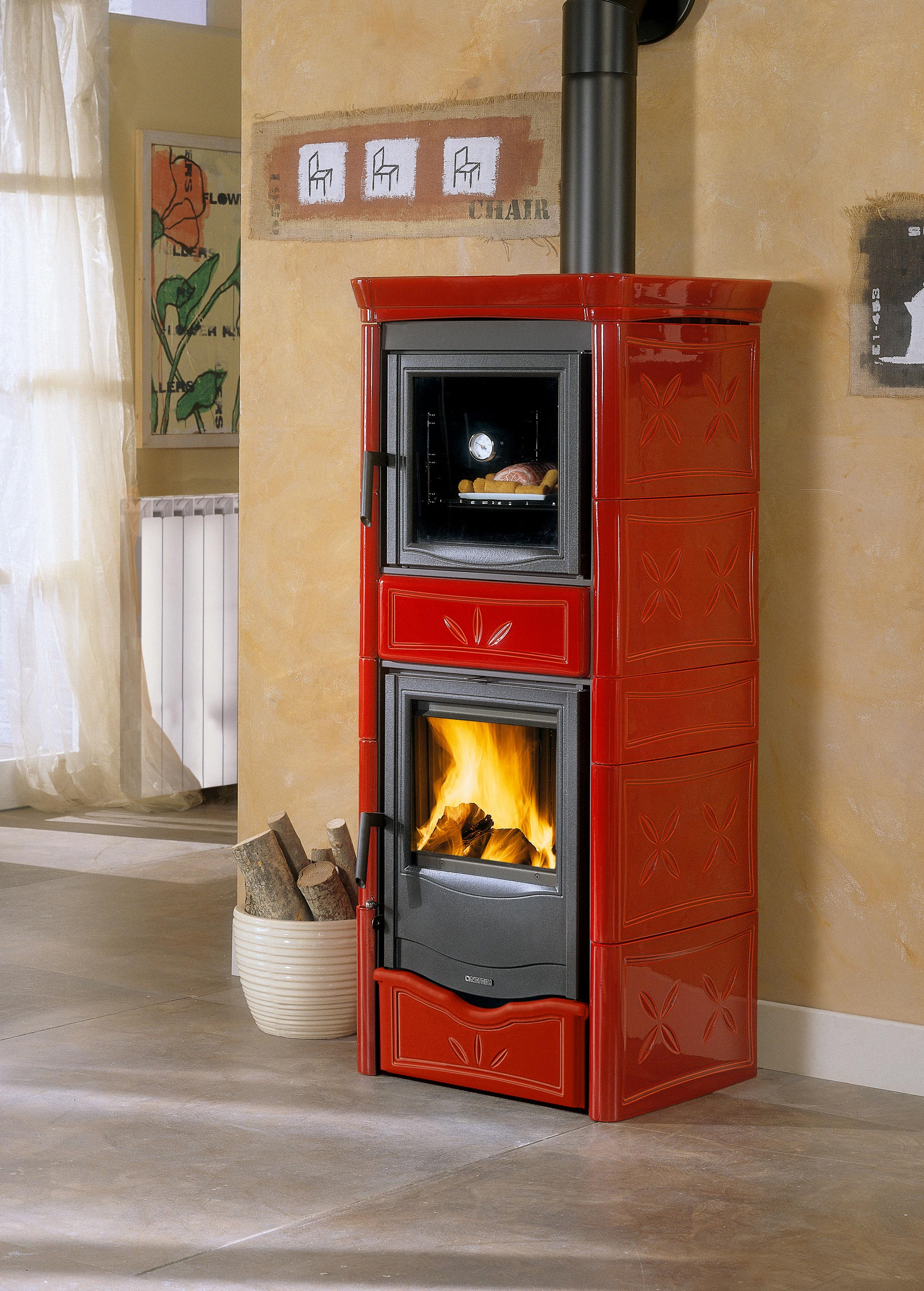 kaminofen la nordica thermo nicoletta forno wasserf hrend rot 8kw bei. Black Bedroom Furniture Sets. Home Design Ideas