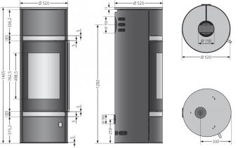Kaminofen Oranier Arena W+ Stahl schw. / Glas raumluftunab. 7 kW DIBt Bild 2