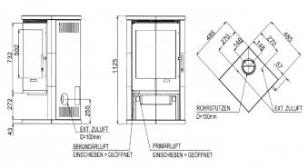 Kaminofen Oranier Corner raumluftunabhängig Sandstein schwarz 7kW Bild 2