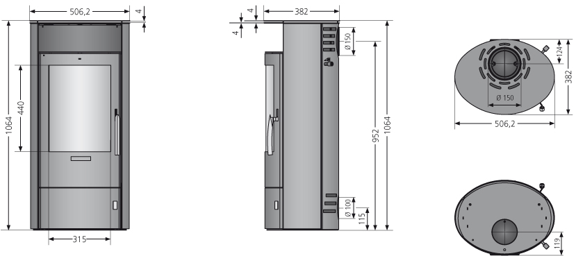 Kaminofen Oranier Polar 5 2.0 raumluftunab. gussgrau Stahl 5kW Bild 3