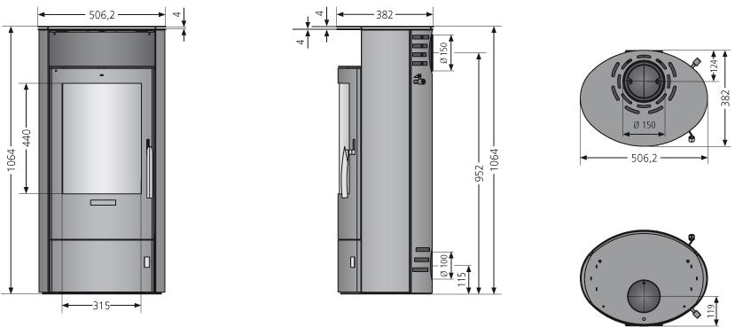 Kaminofen Oranier Polar 5 2.0 raumluftunab. schwarz Sandstein 5kW Bild 3