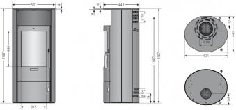 Kaminofen Oranier Polar 7 2.0 raumluftunab. gussgrau Stahl 6,5kW Bild 3