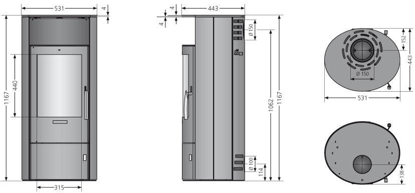 Kaminofen Oranier Polar 7 2.0 raumluftunab. schwarz Grappa 6,5kW Bild 3
