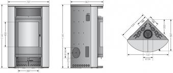 Kaminofen Oranier Polar Eck raumluftunabhängig Stahl gussgrau 6,5kW Bild 3