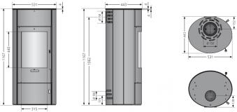 Kaminofen Oranier Polar W+ 2.0 raumluftunab. schwarz Sandstein 6,5kW Bild 3