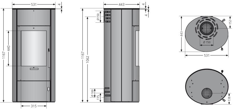Kaminofen Oranier Polar W+ 2.0 raumluftunab. schwarz Seidenweiß 6,5kW Bild 3