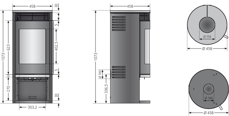Kaminofen Oranier Rota 2.0 raumluftunab. Glas 5,5kW Bild 3