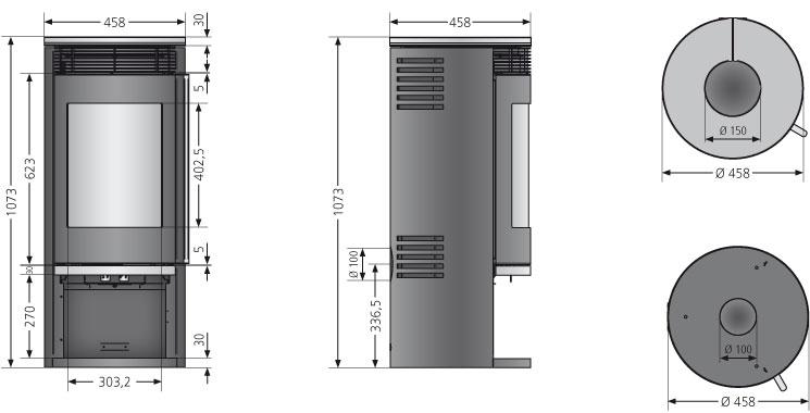 Kaminofen Oranier Rota 2.0 raumluftunabhängig Kalkstein Bianco 5,5kW Bild 3