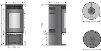 Kaminofen Oranier Rota 2.0 raumluftunabhängig Keramik Seidenweiß 5,5kW Bild 3
