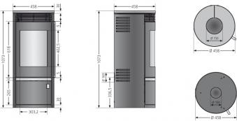 Kaminofen Oranier Rota Top 2.0 raumluftunabhängig Kalkstein 5,5kW Bild 2