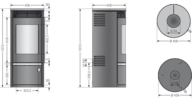 Kaminofen Oranier Rota Top 2.0 raumluftunabhängig Sandstein 5,5kW Bild 3