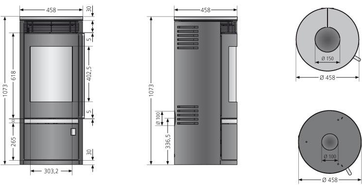 Kaminofen Oranier Rota Top 2.0 raumluftunabh. Stahl schwarz 5,5kW Bild 3