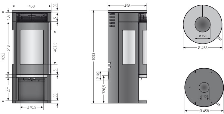 Kaminofen Oranier Rota Tre 2.0 raumluftunabhängig Sandstein 5,5kW Bild 2