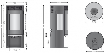 Kaminofen Oranier Rota Tre 2.0 raumluftunabhängig schwarz Stahl 5,5kW Bild 2
