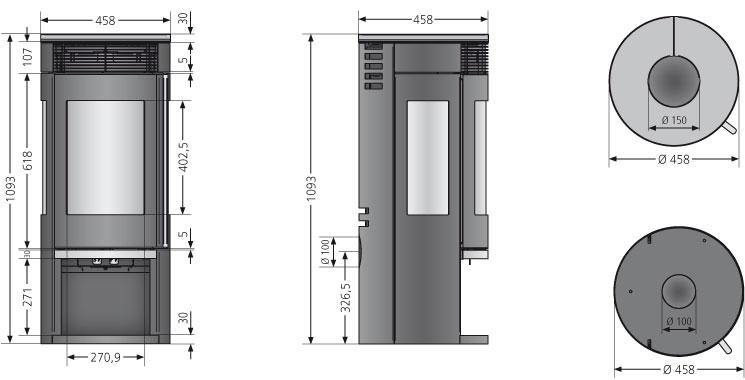 Kaminofen Oranier Rota Tre 2.0 raumluftunabh. Keramik Grappa 5,5kW Bild 2