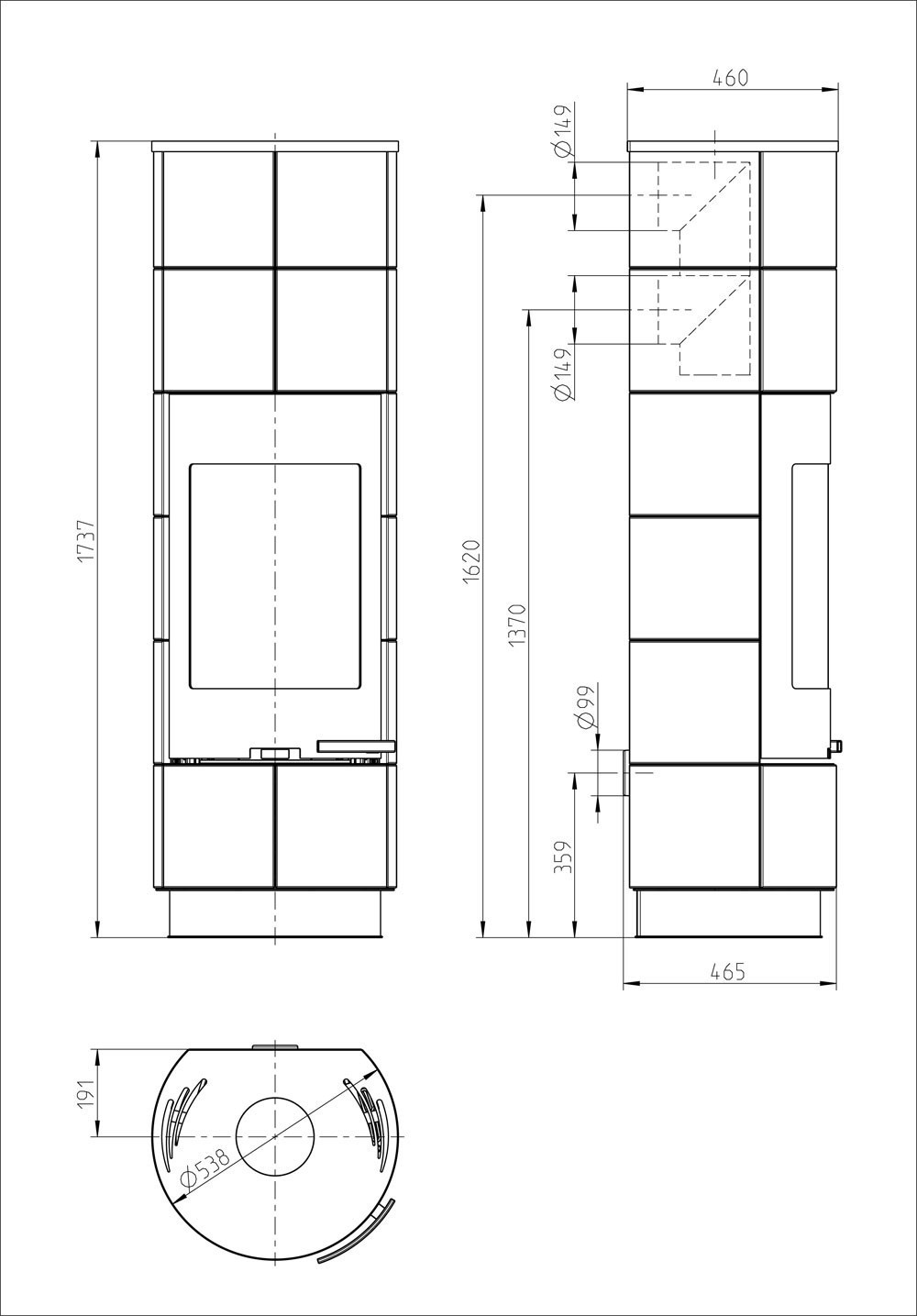 Kaminofen Thorma Delia / Cadiz Plus raumluftun. Serpentino schw. 7,5kW Bild 3