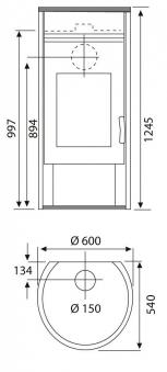 Kaminofen Wamsler KF 101 Atlas Wärmespeicher Stahl gussgrau 8 kW Bild 4