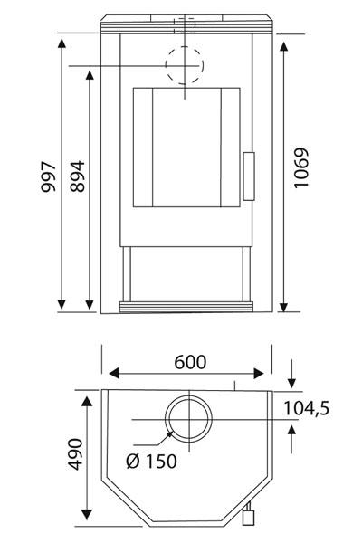 Kaminofen Wamsler KF 101 Prisma PSF gussgrau / Speckstein 8 kW Bild 2
