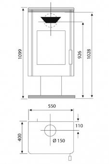 Kaminofen Wamsler KF 101 Trion mit Fuss gussgrau / Speckstein 8 kW Bild 2