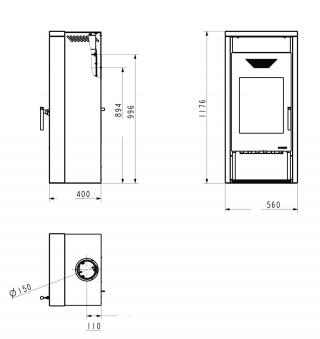 Kaminofen Wamsler KF 101 Yara Stahl Sandstein 8 kW Bild 2