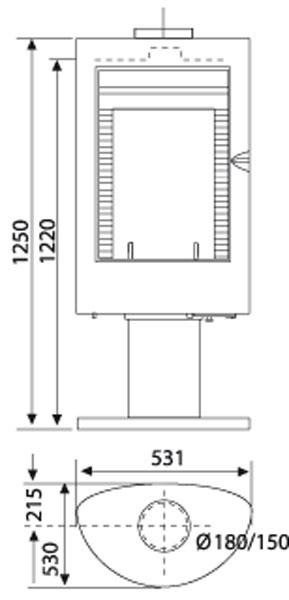 Kaminofen Wamsler KF 188 Nizza drehbar Guss schwarz 10 kW Bild 2