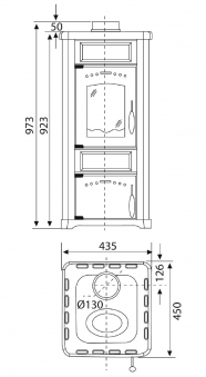 Kaminofen Wamsler KF 188 Romantik schwarz / bordeaux 7,5 kW Bild 2