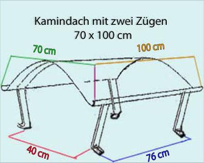 Kamindach Edelstahl 70x100cm Bild 2