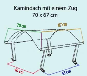 Kamindach Edelstahl 70x67cm Bild 2