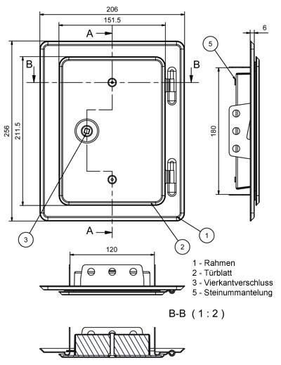 Kamintür K10/4 Edelstahl Vierkantverschluss Einbaumaß 120x180mm Bild 2