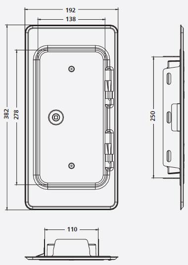 Kamintür K11 Edelstahl V2A Vierkantverschluss Einbaumaß 110x250mm Bild 2