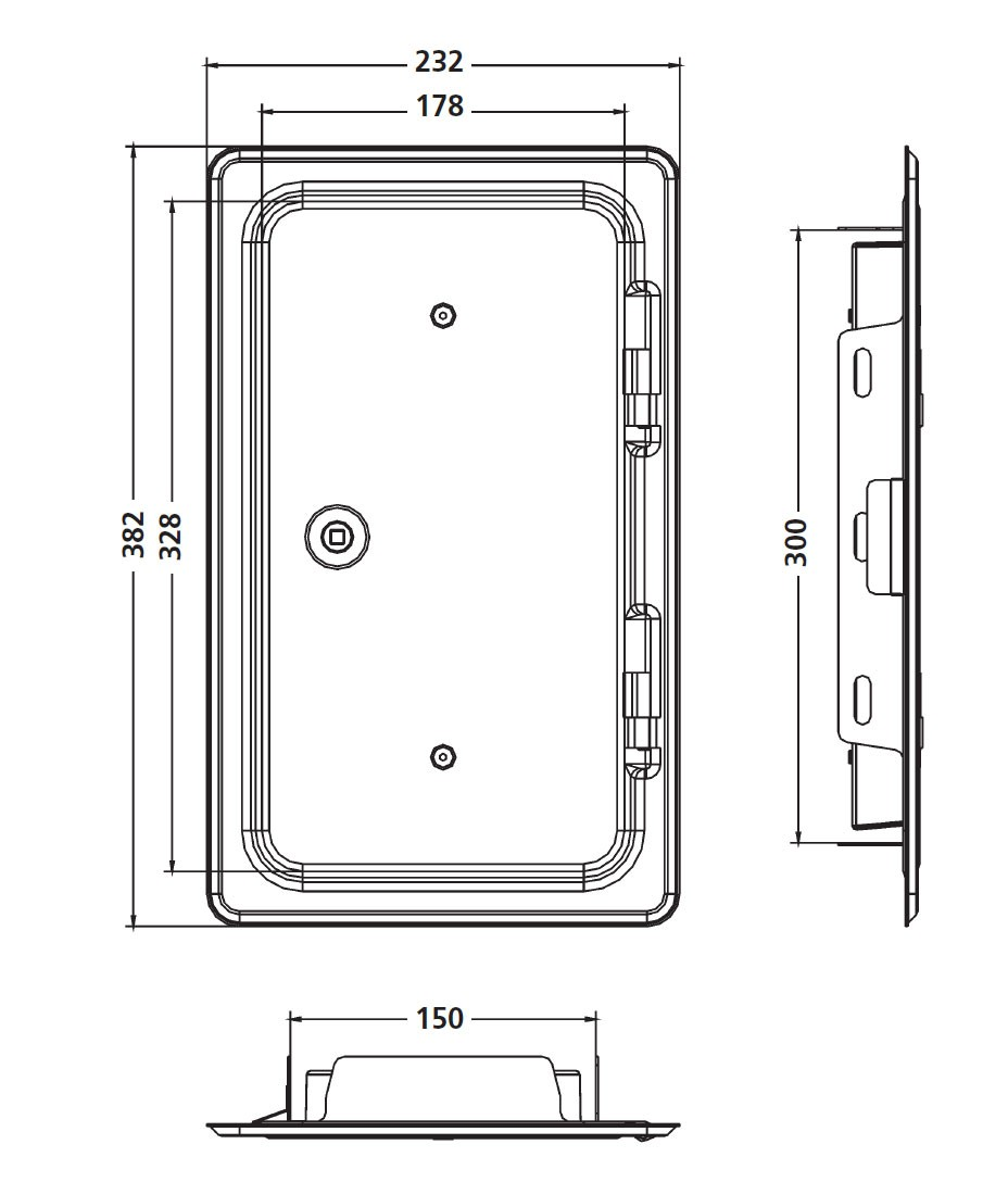 Kamintür K14/4 Edelstahl Vierkantverschluss Einbaumaß 150x300mm Bild 2