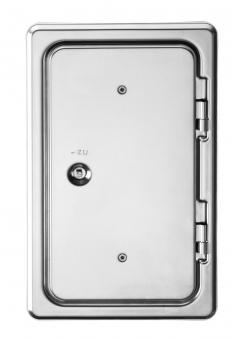 Kamintür K14/4 Edelstahl Vierkantverschluss Einbaumaß 150x300mm Bild 1