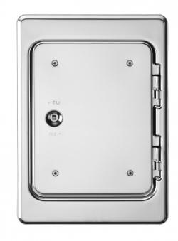 Kamintür K18 Edelstahl Vierkantverschluss Einbaumaß 180x250mm Bild 1