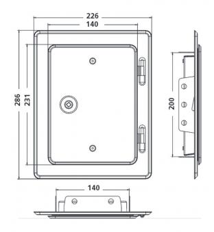 Kamintür K20/4 Edelstahl Vierkantverschluss Einbaumaß 140x200mm Bild 2