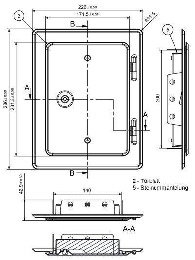Kamintür K20/4 Edelstahl weiß Vierkantverschluss Einbaumaß 140x200mm Bild 2