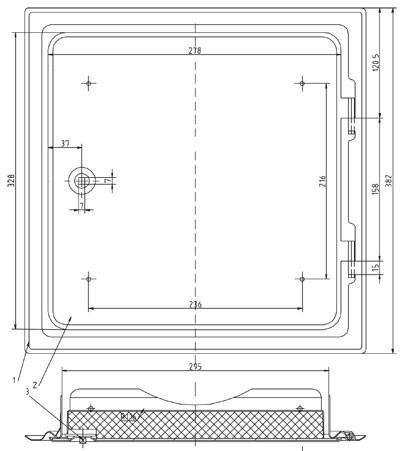 Kamintür K29/4 Edelstahl Vierkantverschluss Einbaumaß 300x300mm Bild 2