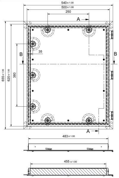 Kamintür K60/4 Edelstahl Vierkantverschluss Einbaumaß 485x600mm Bild 2