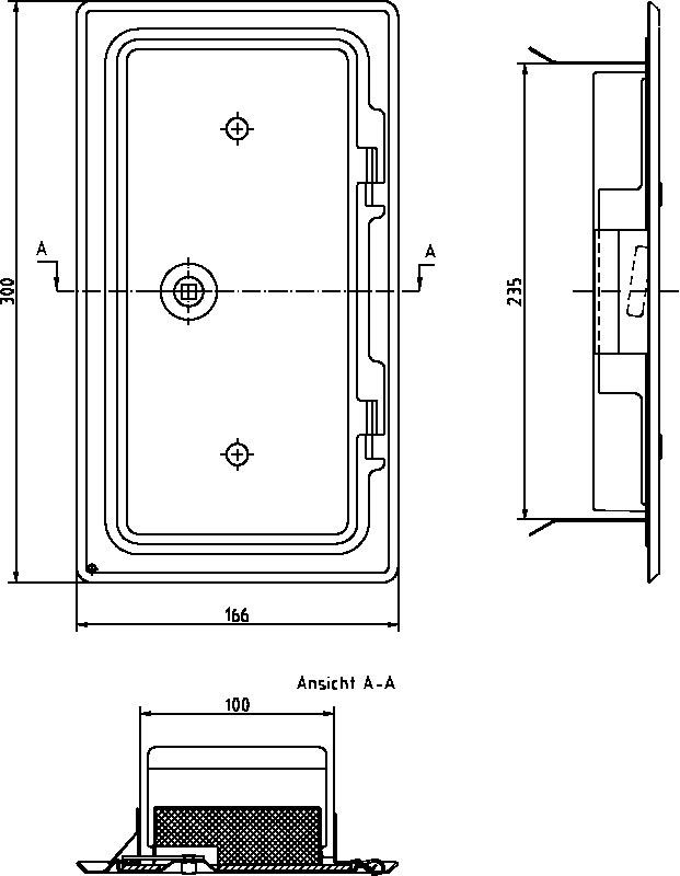 Kamintür K10.24 verzinkt Vierkantverschluss Einbaumaß 100x240mm Bild 2