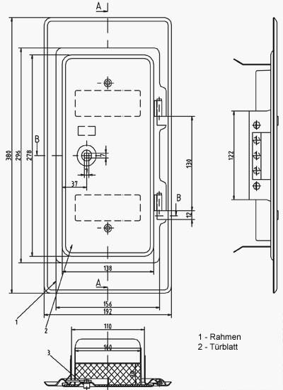 Kamintür K11 verzinkt Vierkantverschluss Einbaumaß 110x250mm Bild 2