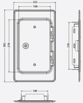 Kamintür K15 verzinkt Vierkantverschluss Einbaumaß 140x250mm Bild 2