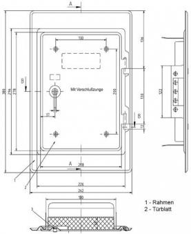 Kamintür K18 verzinkt Vierkantverschluss Einbaumaß 180x250mm Bild 2