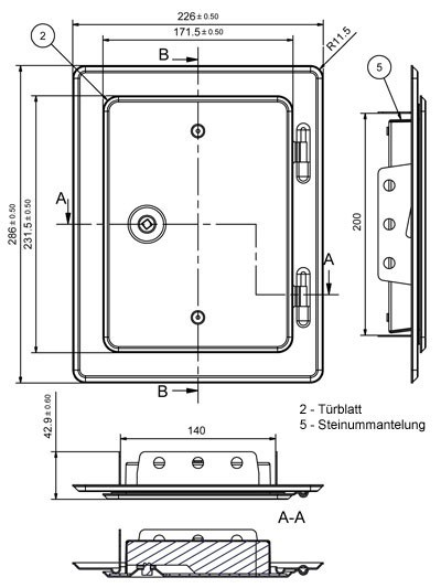Kamintür K20/4 verzinkt Vierkantverschluss Einbaumaß 140x200mm Bild 2