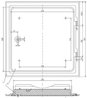 Kamintür K29/4 verzinkt Vierkantverschluss Einbaumaß 300x300mm Bild 2