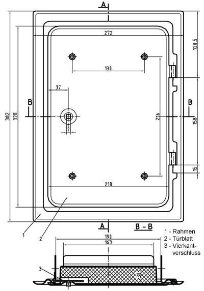 Kamintür K30/4 verzinkt Vierkantverschluss Einbaumaß 200x300mm Bild 2