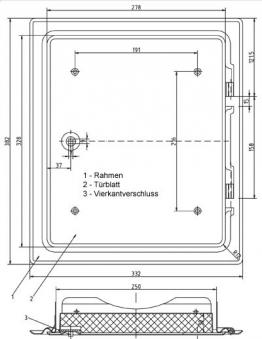 Kamintür K31/4 verzinkt Vierkantverschluss Einbaumaß 250x300mm Bild 2