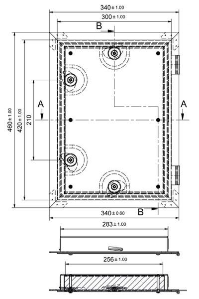Kamintür K40/4 verzinkt Vierkantverschluss Einbaumaß 285x405mm Bild 2
