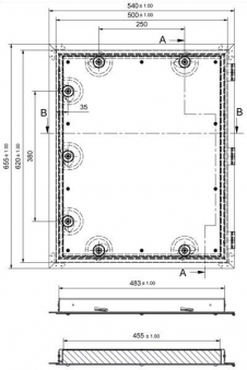 Kamintür K60/4 verzinkt Vierkantverschluss Einbaumaß 485x600mm Bild 2
